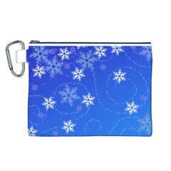 Winter Blue Snowflakes Rain Cool Canvas Cosmetic Bag (l)