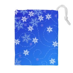 Winter Blue Snowflakes Rain Cool Drawstring Pouches (extra Large)