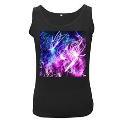 Space Galaxy Purple Blue Women s Black Tank Top