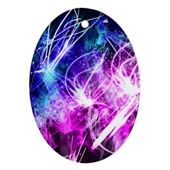 Space Galaxy Purple Blue Oval Ornament (two Sides)