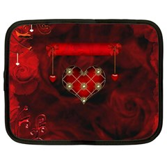 Wonderful Elegant Decoative Heart With Flowers On The Background Netbook Case (large)