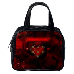 Wonderful Elegant Decoative Heart With Flowers On The Background Classic Handbags (one Side)