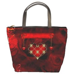 Wonderful Elegant Decoative Heart With Flowers On The Background Bucket Bags