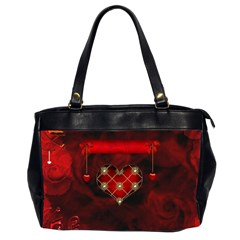 Wonderful Elegant Decoative Heart With Flowers On The Background Office Handbags (2 Sides)