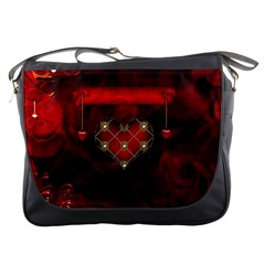 Wonderful Elegant Decoative Heart With Flowers On The Background Messenger Bags