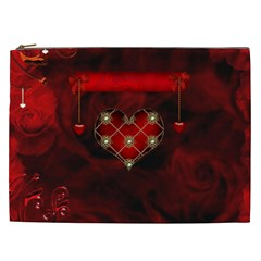 Wonderful Elegant Decoative Heart With Flowers On The Background Cosmetic Bag (xxl)
