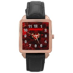 Wonderful Elegant Decoative Heart With Flowers On The Background Rose Gold Leather Watch