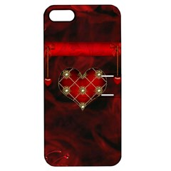 Wonderful Elegant Decoative Heart With Flowers On The Background Apple Iphone 5 Hardshell Case With Stand