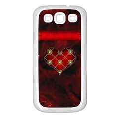 Wonderful Elegant Decoative Heart With Flowers On The Background Samsung Galaxy S3 Back Case (white)
