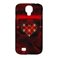 Wonderful Elegant Decoative Heart With Flowers On The Background Samsung Galaxy S4 Classic Hardshell Case (pc+silicone)