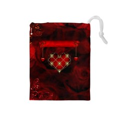 Wonderful Elegant Decoative Heart With Flowers On The Background Drawstring Pouches (medium)