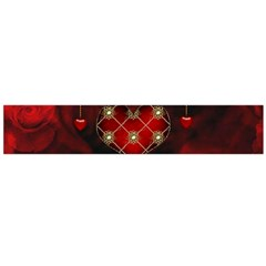 Wonderful Elegant Decoative Heart With Flowers On The Background Flano Scarf (large)