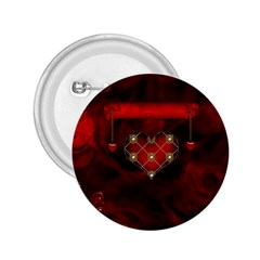 Wonderful Elegant Decoative Heart With Flowers On The Background 2 25  Buttons