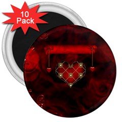 Wonderful Elegant Decoative Heart With Flowers On The Background 3  Magnets (10 Pack)