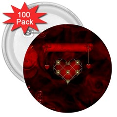 Wonderful Elegant Decoative Heart With Flowers On The Background 3  Buttons (100 Pack)