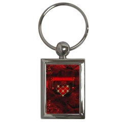 Wonderful Elegant Decoative Heart With Flowers On The Background Key Chains (rectangle)