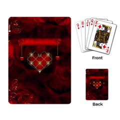 Wonderful Elegant Decoative Heart With Flowers On The Background Playing Card