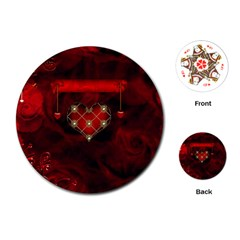 Wonderful Elegant Decoative Heart With Flowers On The Background Playing Cards (round)