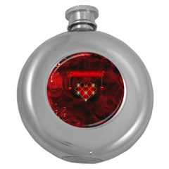 Wonderful Elegant Decoative Heart With Flowers On The Background Round Hip Flask (5 Oz)