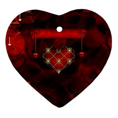 Wonderful Elegant Decoative Heart With Flowers On The Background Heart Ornament (two Sides)