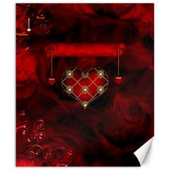 Wonderful Elegant Decoative Heart With Flowers On The Background Canvas 20  X 24