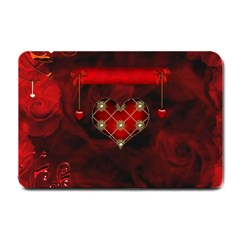 Wonderful Elegant Decoative Heart With Flowers On The Background Small Doormat