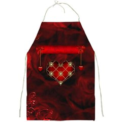Wonderful Elegant Decoative Heart With Flowers On The Background Full Print Aprons