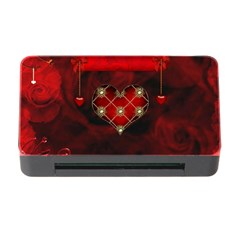 Wonderful Elegant Decoative Heart With Flowers On The Background Memory Card Reader With Cf
