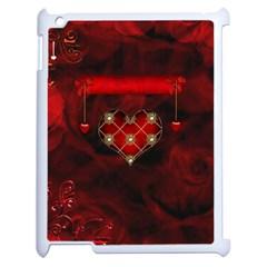 Wonderful Elegant Decoative Heart With Flowers On The Background Apple Ipad 2 Case (white)
