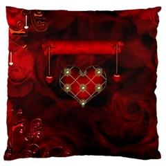 Wonderful Elegant Decoative Heart With Flowers On The Background Large Cushion Case (one Side)