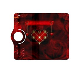Wonderful Elegant Decoative Heart With Flowers On The Background Kindle Fire Hdx 8 9  Flip 360 Case