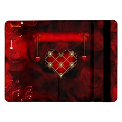 Wonderful Elegant Decoative Heart With Flowers On The Background Samsung Galaxy Tab Pro 12 2  Flip Case