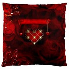 Wonderful Elegant Decoative Heart With Flowers On The Background Large Flano Cushion Case (one Side)
