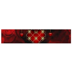 Wonderful Elegant Decoative Heart With Flowers On The Background Flano Scarf (small)