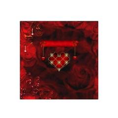 Wonderful Elegant Decoative Heart With Flowers On The Background Satin Bandana Scarf