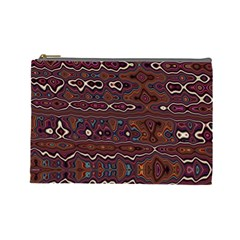 Hippy Boho Chestnut Warped Pattern Cosmetic Bag (large)