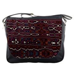 Hippy Boho Chestnut Warped Pattern Messenger Bags
