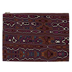 Hippy Boho Chestnut Warped Pattern Cosmetic Bag (xxl)
