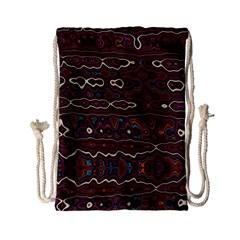 Hippy Boho Chestnut Warped Pattern Drawstring Bag (small)