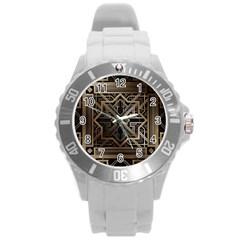 Art Nouveau Round Plastic Sport Watch (l)
