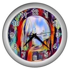 Abstract Tunnel Wall Clocks (silver)