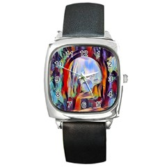 Abstract Tunnel Square Metal Watch