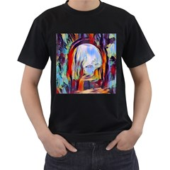 Abstract Tunnel Men s T Shirt (black) (two Sided)