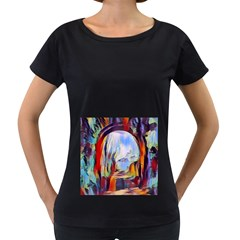 Abstract Tunnel Women s Loose Fit T Shirt (black)