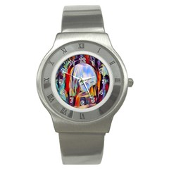 Abstract Tunnel Stainless Steel Watch