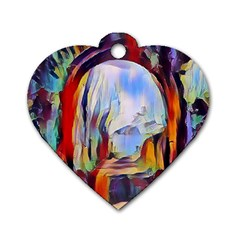 Abstract Tunnel Dog Tag Heart (one Side)