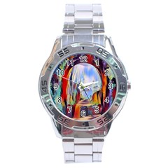 Abstract Tunnel Stainless Steel Analogue Watch