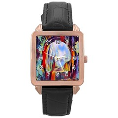Abstract Tunnel Rose Gold Leather Watch