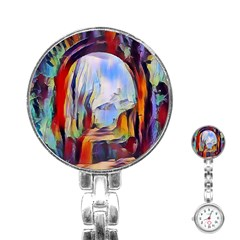 Abstract Tunnel Stainless Steel Nurses Watch