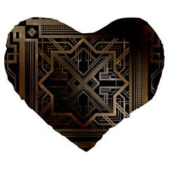 Art Nouveau Large 19  Premium Heart Shape Cushions